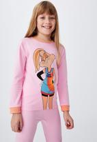 Cotton On - Florence long sleeve pyjama set licensed - lcn wb space jam superstar lola cali pink