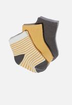 Cotton On - 3 Pack baby socks - vintage honey/ rabbit grey stripe