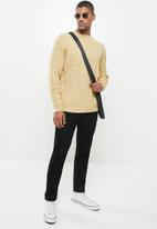 Jonathan D - Oversized high neck cable knit sweater - beige