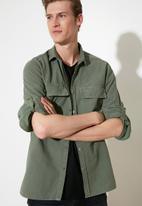 Trendyol - 2 pocket shirt - green