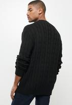 Jonathan D - Oversized high neck cable knit sweater - black