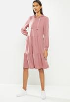Jacqueline de Yong - Dale long sleeve hood sweat dress - rose
