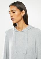 Jacqueline de Yong - Dale long sleeve hood sweat dress - light grey