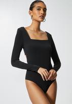 VELVET - Square neck back detail bodysuit - black