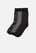 Trendyol - Printed 3 pack socks - black