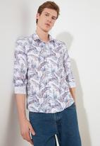 Trendyol - Leaf print long sleeve shirt - white