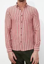 Trendyol - Stripe long sleeve shirt - red