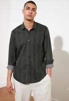Trendyol - Stripe long sleeve shirt - black