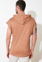 Trendyol - Hooded fleece tanktop - dark beige