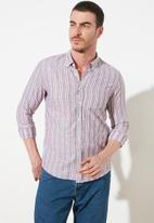 Trendyol - Stripe long sleeve shirt - burgundy