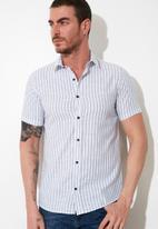 Trendyol - Stripe short sleeve shirt - blue