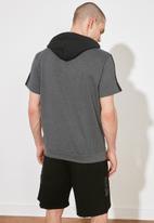 Trendyol - Half sleeve hooded sweater - charcoal