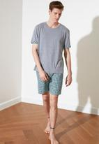 Trendyol - Top & check shorts pj set - grey & green