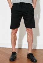 Trendyol - Contrast drawstring sweatshorts - black