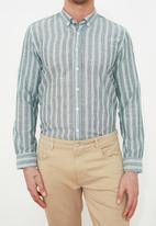 Trendyol - Stripe long sleeve shirt - green