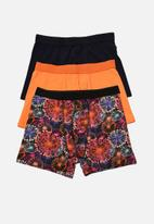 Trendyol - Printed 3 pack boxer shorts - orange & black