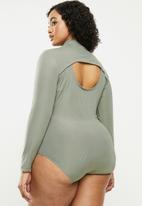 Blake - Turtle neck bodysuit with open back detail - green