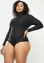Blake - Turtle neck bodysuit with open back detail - black