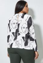 Superbalist - Hi neck shoulder pad shell blouse - white & black