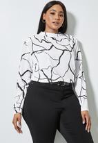 Superbalist - Hi neck shoulder pad shell blouse - white marker squiggle