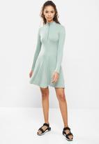 Blake - A-line zip up mini dress - green