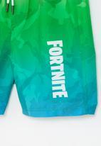 Rebel Republic - Fortnite camo gradient boardshorts - green & blue