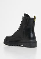 Jada - Lace-up combat boot - black