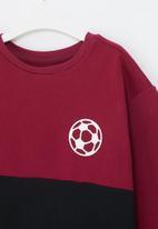 POP CANDY - Colour block sweatshirt - burgundy & black