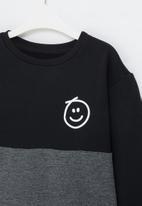 POP CANDY - Colour block  crew sweatshirt - black