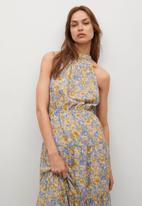 MANGO - Dress purple - blue & yellow