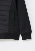 Aca Joe - Big-boys zip thru bonded jacket - black