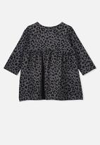 Cotton On - Molly long sleeve dress - rabbit grey summer ocelot