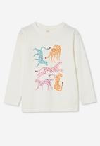 Cotton On - Penelope long sleeve tee - vanilla/ jigsaw leopards