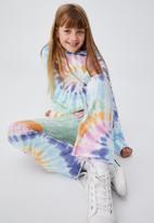 Cotton On - Francine flare pant - aqua spiral tie dye