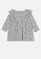 Cotton On - Mandy long sleeve ruffle dress - vanilla/turtle green sierra floral