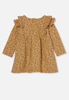 Cotton On - Mandy long sleeve ruffle dress - vintage honey/vanilla sierra floral