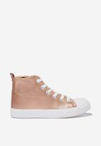 Cotton On - Classic high top trainer v - rose gold