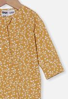 Cotton On - The long sleeve zip romper - vintage honey/vanilla sierra floral