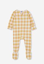 Cotton On - The long sleeve zip romper - vintage honey/vanilla maxi gingham