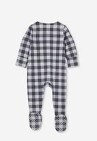 Cotton On - The long sleeve zip romper - rabbit grey/cloud marle maxi gingham
