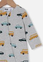 Cotton On - The long sleeve zip romper - cloud marle/traffic jam