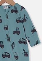 Cotton On - The long sleeve zip romper - rusty aqua/tradie trucks