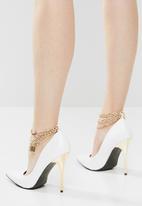 Public Desire - Luv chunky chain detail stiletto heel - white