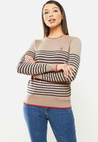 POLO - Elena breton stripe sweater - camel & orange