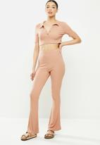 Missguided - Rib polo top wide leg lounge set - pink
