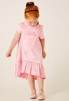 Flyersunion - Frill dress with hi-low hemline - pink