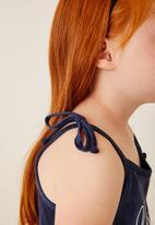 Flyersunion - Strappy shoulder tie dress - navy