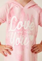 Flyersunion - Fleece hoodie dress - pink