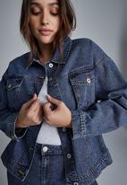Cotton On - Curve 90s baggy denim jacket - coogee blue