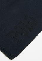 POLO - Mens charles jacquard logo beanie set - navy